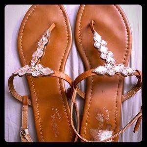 Women's Madeleine Stuart blush stone thong sandals